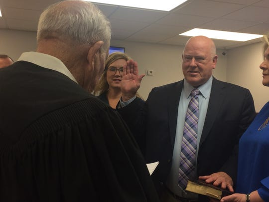 Ashland City Council Vice Mayor Steve Allen was surrounded by family when he was sworn in as mayor Tuesday to take over the role of Mayor Rick Johnson, whose resignation is effective Nov. 20.