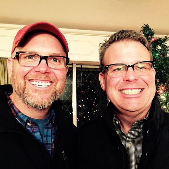 MercyMe singer Bart Millard, left, 45, with his brother, Stephen, 50, during the Christmas season a few years ago.