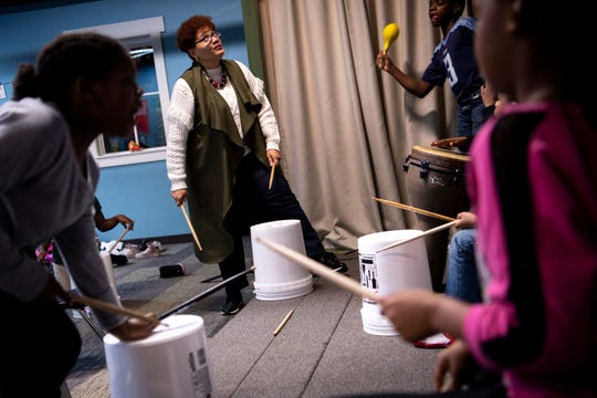 Karen Brockington works with her students on a drumming lesson during a Franktown class at Grace Chapel Church in Franklin, Tenn., Tuesday, Nov. 13, 2018. Franktown Open Hearts is a non-profit serving Williamson County's inner-city youth offering academic assistance, mentoring, recreation and spiritual growth.