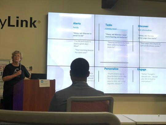 Heidi Culbertson presented her business, Marvee, to the audience of community members and potential investors at the Naples Accelerator on Wednesday, Nov. 14, 2018.