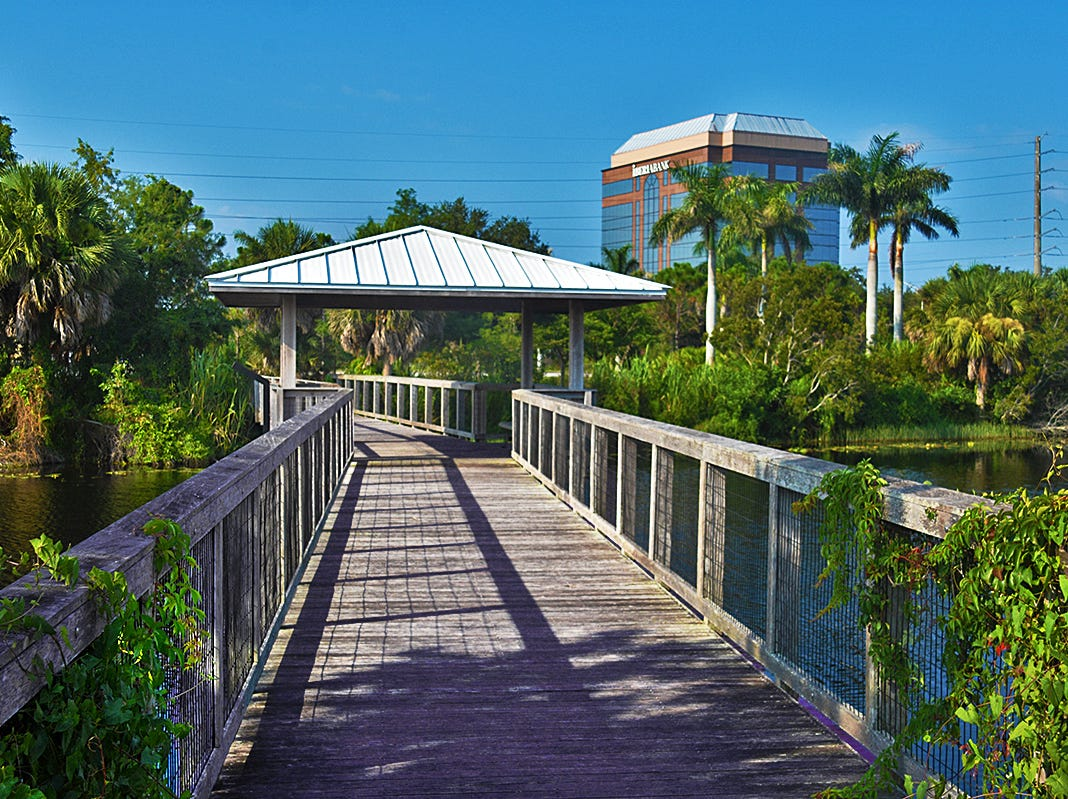 The Fred W. Coyle Freedom Park is located at 1515 Golden Gate Parkway near Coastland Center in Naples. The entire park is 50 acres in size. Amenities include a 5-acre lake with approximately 3500 feet of boardwalk constructed throughout the Park.