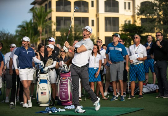 Actor Mark Wahlberg takes part in CME Group's closest-to-the-pin contest Wednesday, Nov. 14, 2018, at Tiburón Golf Club in North Naples. Tickets for the charity contest cost $1,000 each, and Wednesday's event raised $52,000. Wahlberg matched the amount to raise $104,000 for St. Jude Children's Hospital.