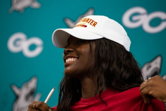 Sydney Eugene, a Gulf Coast High School basketball player, signed a letter of intent with Bridgewater College before being lost for the season with a knee injury.