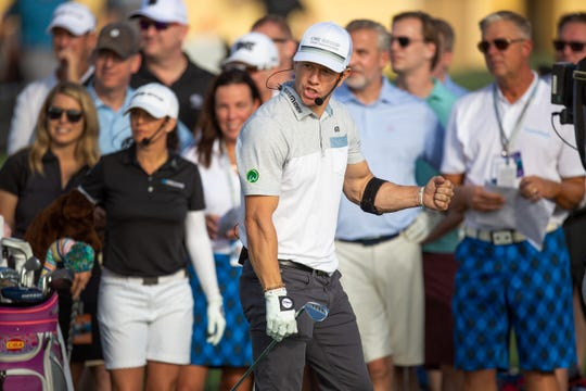 A movie star, Mark Wahlberg and other participants take a part of CME Group's a closest to the pin contest for their customers. The customers will pay $1,000 each, which will all go to charity at Tiburón Golf Club at Wednesday, Nov. 14, 2018. The contest brought $52,000 and Mark Wahlberg matched the amount to raise $104,000 for St. Jude Chidlren's Hospital.