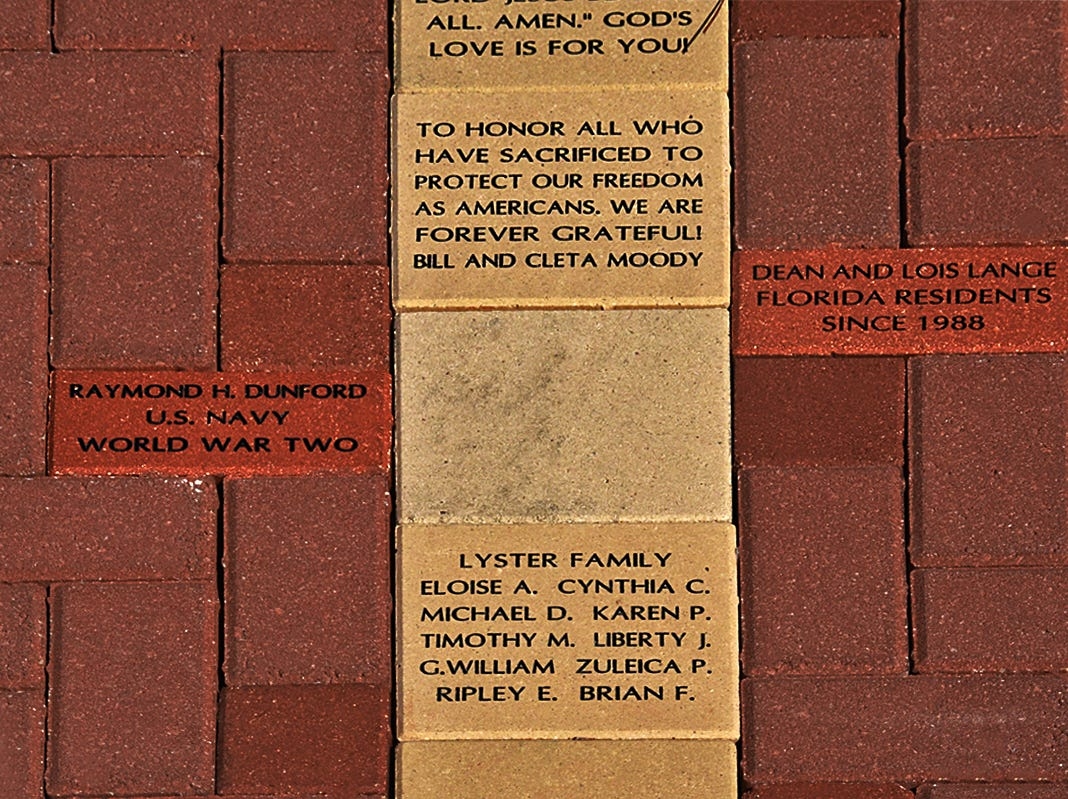 The Fred W. Coyle Freedom Park memorial includes a flag set over concrete replicas of each state surrounded by dedication bricks, which can be purchased.