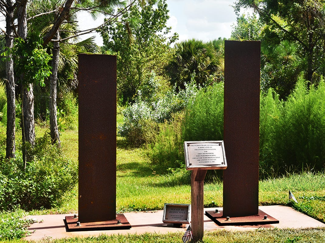 Two steel girders from the World Trade Center demolished on Sept. 11 are on display at Fred W. Coyle Freedom Park in Naples. The monument is dedicated to the civilians and first responders who perished during the act of terrorism on September 11, 2001 in New York City.