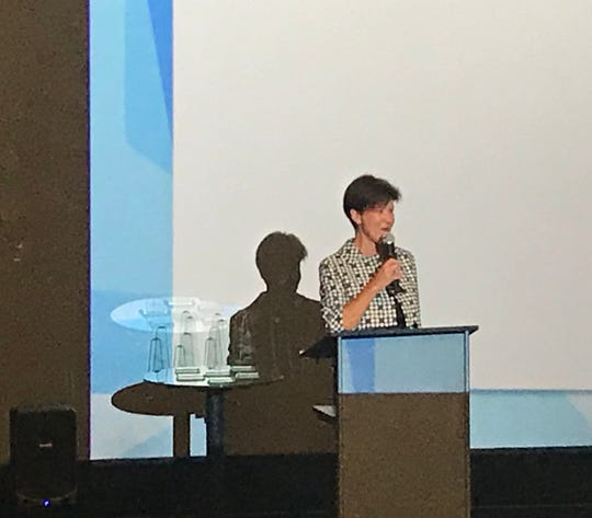 Alex Sink, Florida's former chief financial officer, speaks at the Excellence in Industry awards event on Wednesday, Nov. 14, 2018, at the Silverspot in North Naples.