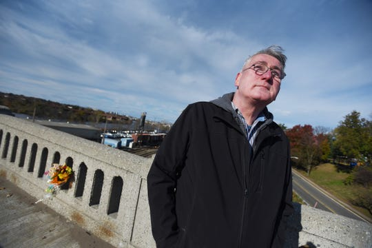 Robert Popp of Dumont, who is lobbying Little Ferry, Ridgefield Park and the NJDOT to name the westbound walkway of the route 46 span across the Hackensack River in honor of his sister, Gloria, looks up near the spot where his 15 year old sister was killed by a hit-and-run driver there in November 1969. Photographed 0n 11/14/18.  If successful the memorial would occur on the 50th anniversary and call attention to the rising number of NJ pedestrian fatalities.