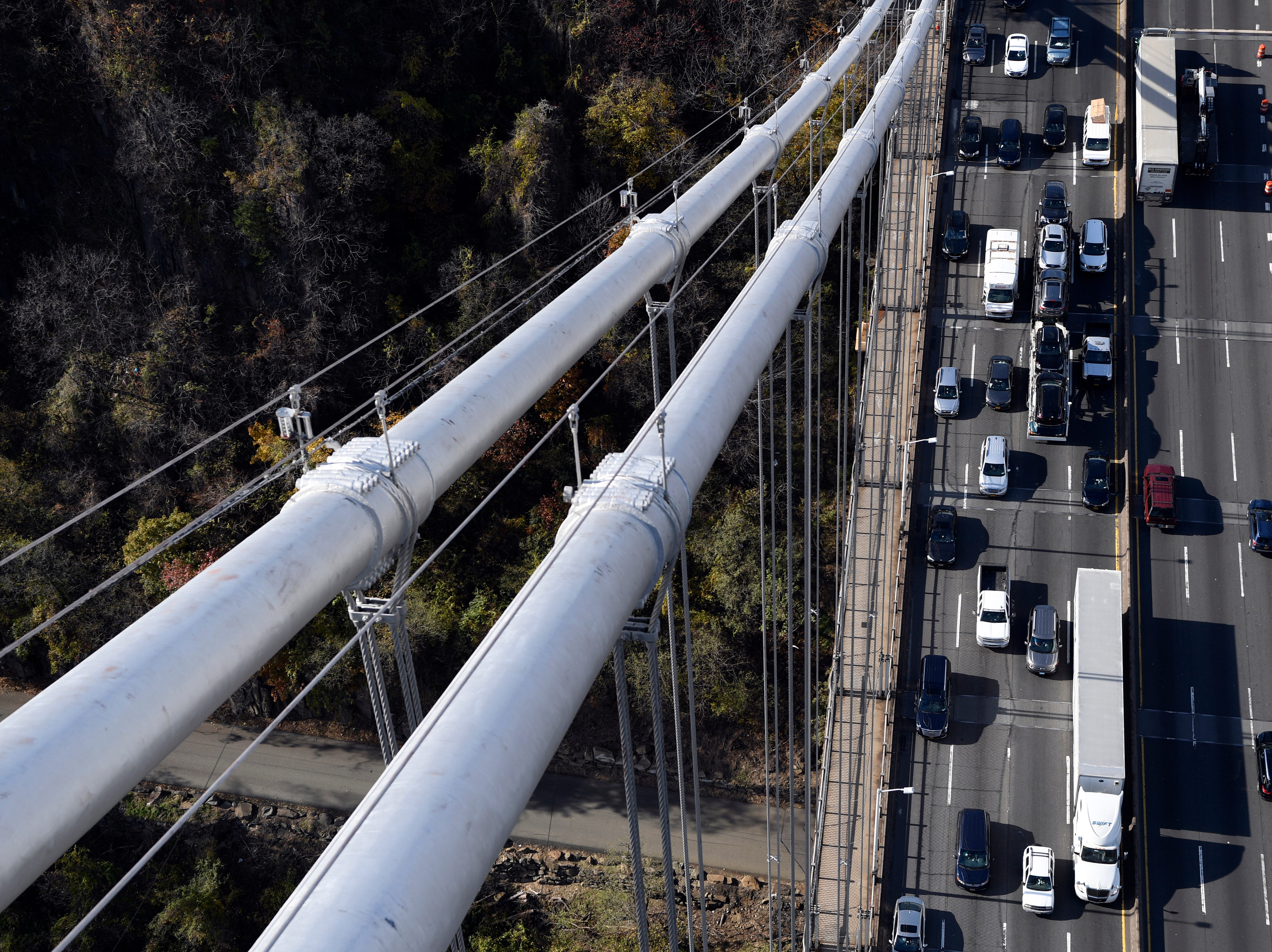 The George Washington Bridge is undergoing a suspender rope replacement and main cable rehabilitation, which the Port Authority estimates will take six to seven years. The cables and ropes are seen here during a tour on Wednesday, Nov. 14, 2018, in Fort Lee.
