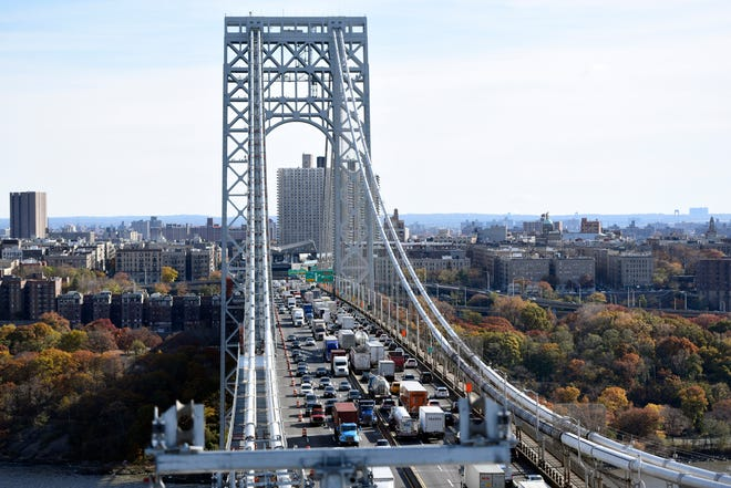 The George Washington Bridge is undergoing a suspender rope replacement and main cable rehabilitation, which the Port Authority estimates will take six to seven years. The view looking east towards New York on Wednesday, Nov. 14, 2018.