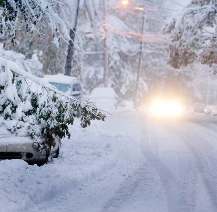 Thursday's heavy, wet snow could bring down power lines and leafy trees