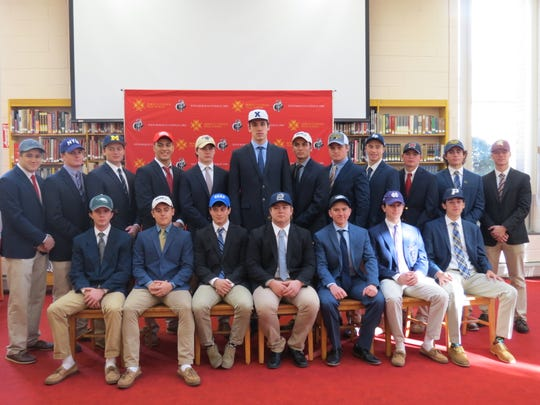 Bergen Catholic college signees:  Standing, from left: Chris Foca (wrestling, Cornell); Dillon DiBartolomeo (baseball, NYU); Jacob Denner (baseball, Michigan); Jacob Cardenas (wrestling, Cornell); Thomas McGee (lacrosse, Lafayette); Zach Freemantle (basketball, Xavier); Joseph Morin (baseball, Salve Regina); Casey Bonomo (baseball, West Liberty University); Doug Edert (basketball, St. Peter's); Will Celiberti (golf, Maryland); Dominic Cancellieri (baseball, Notre Dame); Patrick Zuccola (baseball, St. Thomas Aquinas). Seated, from left: Julian Virgona (lacrosse, Wagner); Matthew D'Amato (baseball, Salve Regina); Wade Unger (wrestling, Duke); Michael Hicks (lacrosse, Merrimack); Chris Imbarrato (baseball, Albertus Magnus); DJ Kelly (lacrosse, Holy Cross); Marco Siracusa (baseball, Pace).