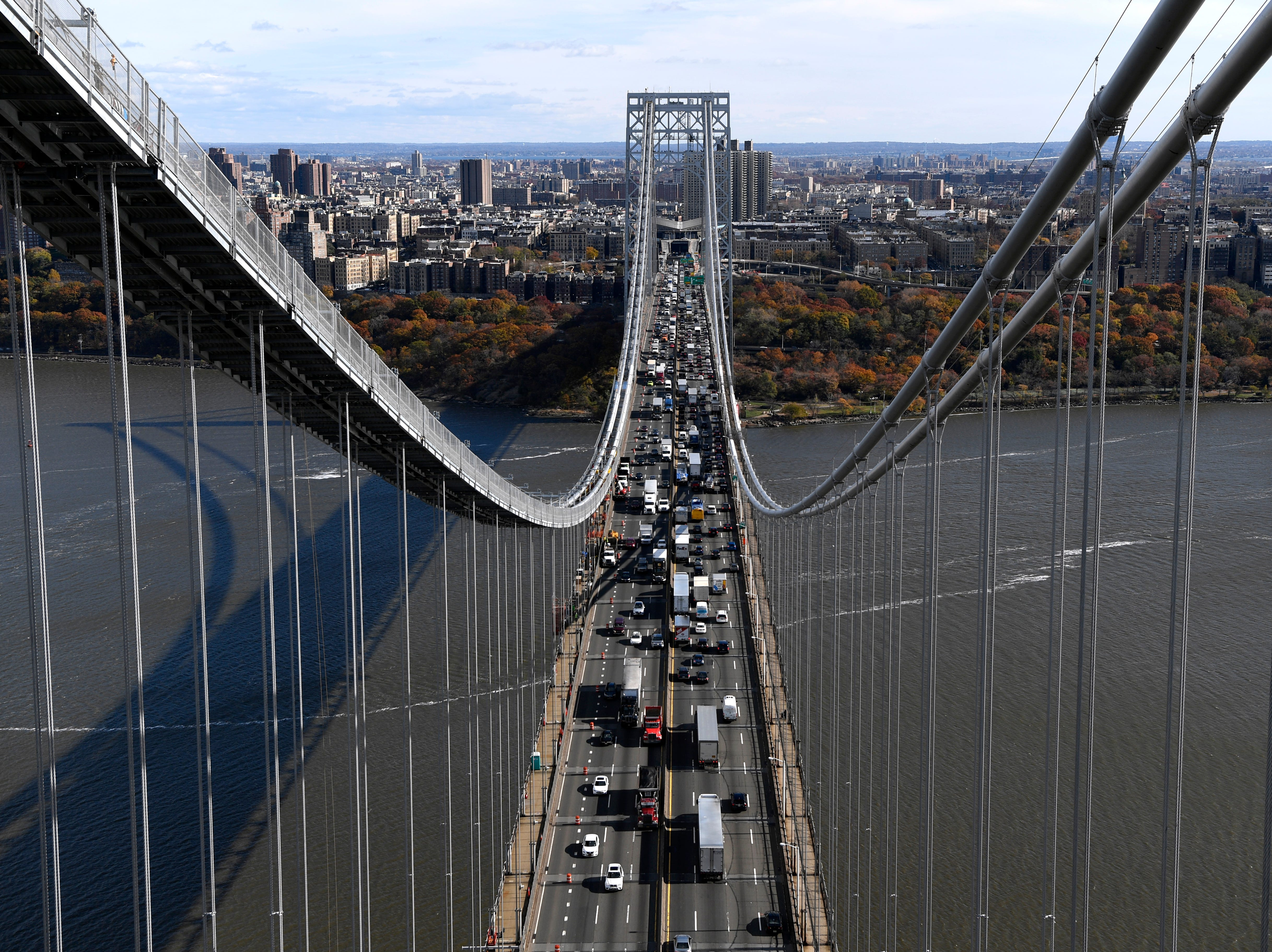 The George Washington Bridge is undergoing a suspender rope replacement and main cable rehabilitation, which the Port Authority estimates will take six to seven years. The bridge is seen looking towards New York during a tour on Wednesday, Nov. 14, 2018, in Fort Lee.