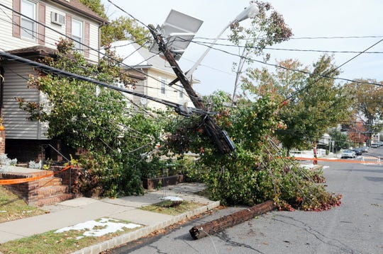 Downed utility pole in Belleville following the unexpected October 2011 snowstorm.