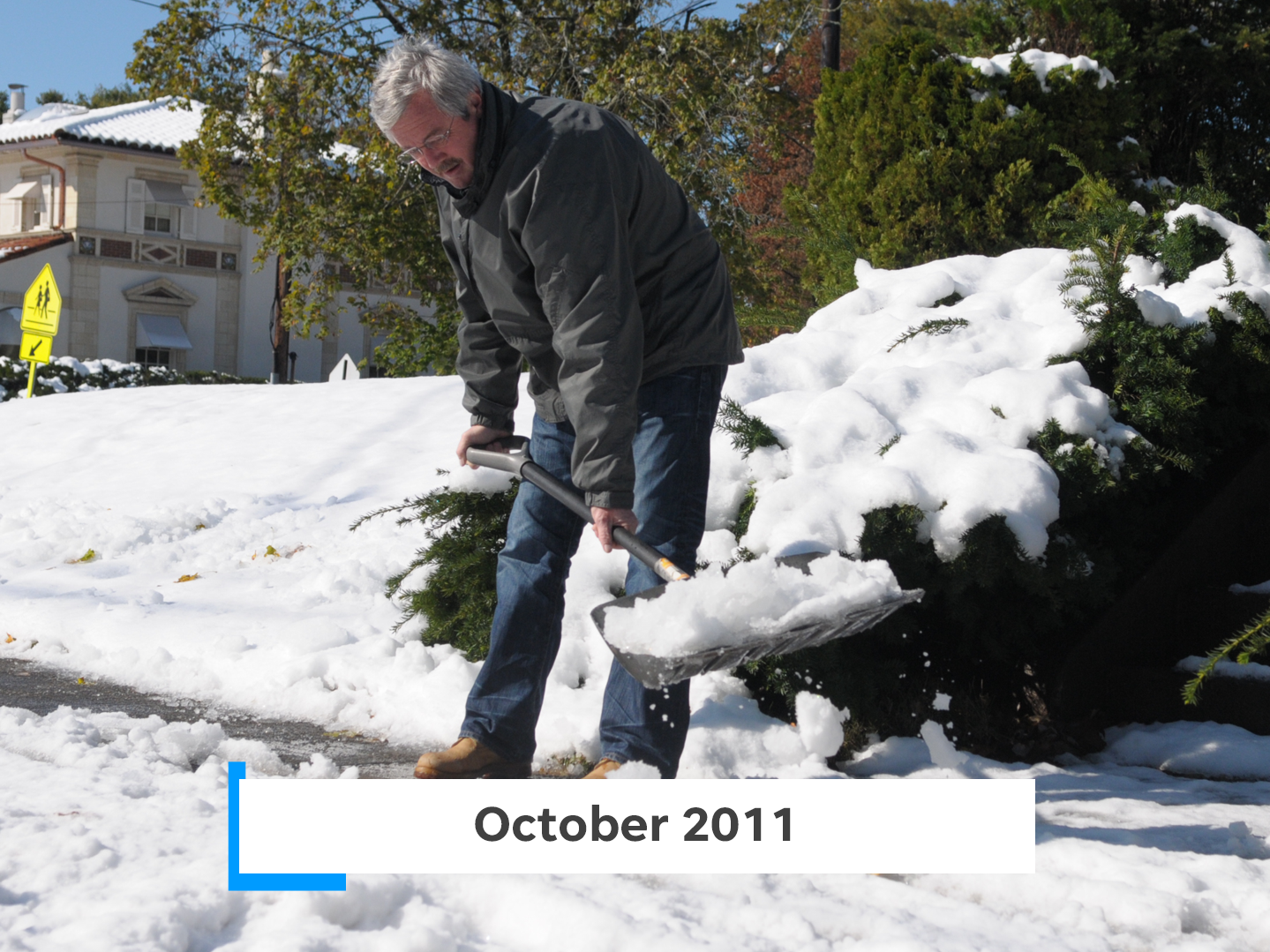"Referred to as ""Snowtober"" and""Oktoberblast,"" the Halloween snowstorm of 2011 left behind as much as 19 inches of snow."