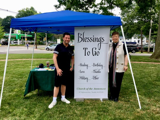 """The Church of the Atonement's """"Blessings to Go"""" booth at Tenafly's Pride Day in June 2018."""