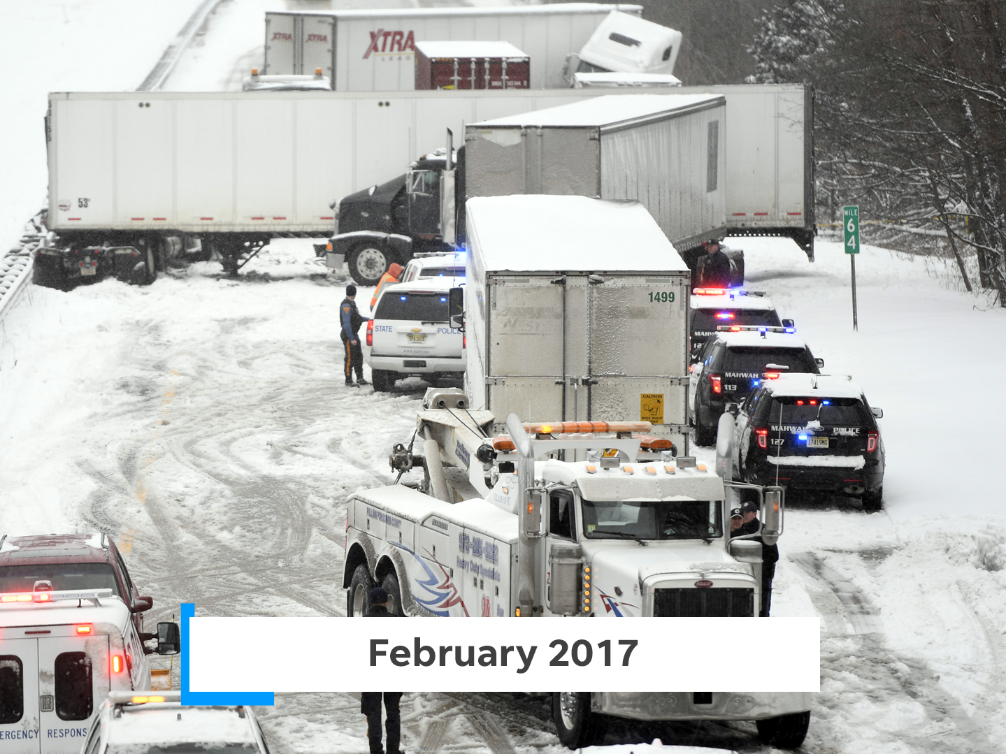 The Blizzard of 2017 followed temperatures as high as 60 degrees, before dumping a foot of snow on the state. Over 100 car crashes were attributed to the storm.