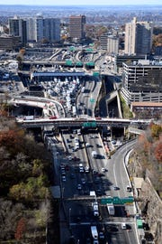 Interstate 95 seen from the George Washington Bridge, looking west toward Fort Lee, in November.
