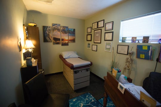 A consultation room at Reclaim Wellness, 1355 California Ave., Ste. B, an integrative health center that brings together a diverse group of health care providers practicing conventional and alternative medicine.