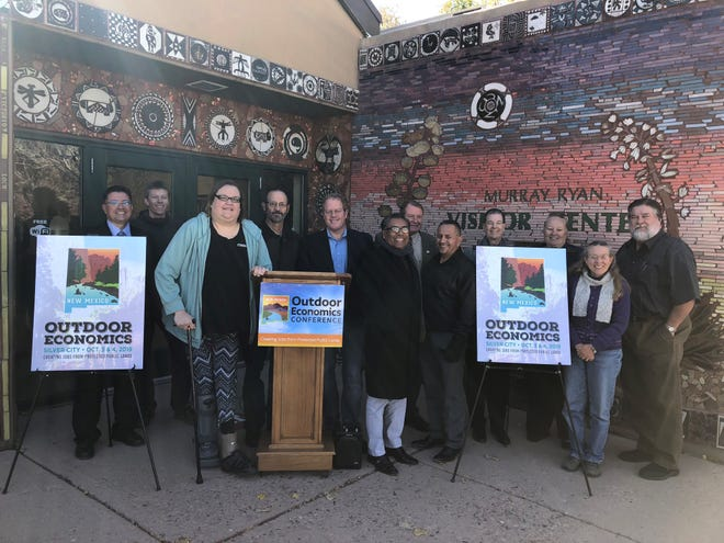 Among those attending the announcement for the 2019 Outdoor Economics Conference in Silver City were Grant County Commissioner Gabriel Ramos, Continental Divide Trail Coalition-Gateway Community Coordinator- Dan Roper, Silver City Councilor Guadalupe Cano, Grant County Commissioner Harry Browne, State Sen. Jeff Steinborn, WNMU Vice President of External Affairs Magdaleno Manzanárez, Silver City Mayor Ken Ladner, Silver City Town Manager Alex Brown, Grant County Commissioner Alicia Edwards, Silver City Grant County Chamber of Commerce's Sabrina Pack, Silver City Mainstreet Project executive director Charmeine Wait and Silver City Grant County Chamber of Commerce President Scott Terry.