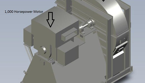 A rendering of a fan being installed at the Waste Isolation Pilot Plant.