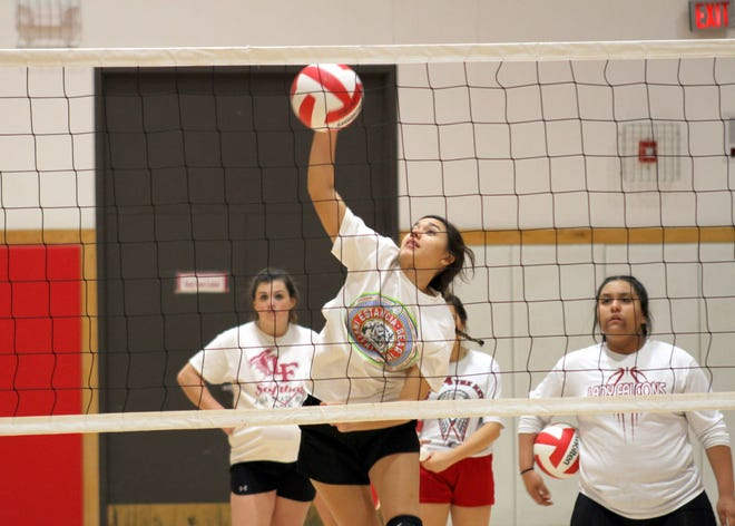 Loving junior Frankie Hernandez spikes a ball during Tuesday's practice to prepare for this week's state volleyball tournament. Loving is the No. 6 seed in the Class 2A bracket.