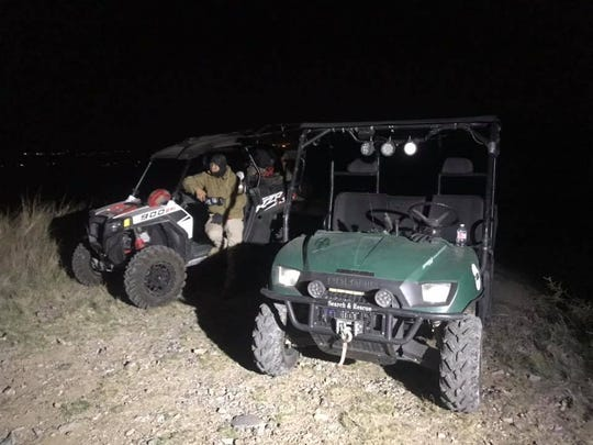 An ATV team with the Mesilla Valley Search and Rescue, gets ready to go on a rescue mission to Organ Mountains early Sunday morning.