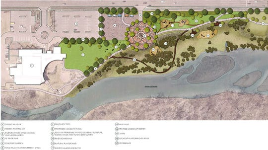 "This rendering shows details of ""Concept 1"" of the proposed Animas River Trail 'Iconic Park' proposed by the City of Farmington for the area near the Farmington Museum."