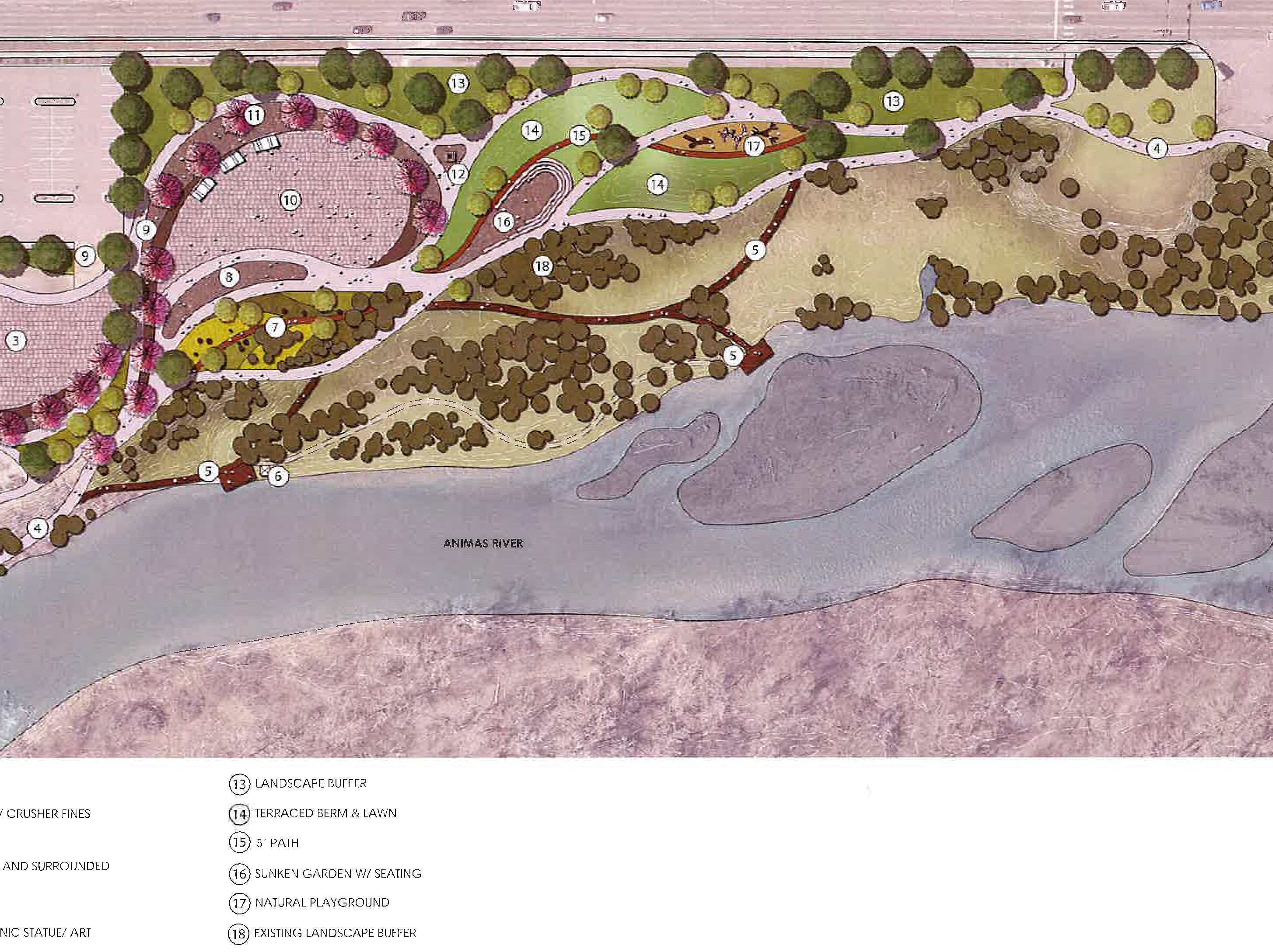 This is a view of the Animas River Trail 'Iconic Park' Concept 2 proposed for construction next to the Farmignton Museum.