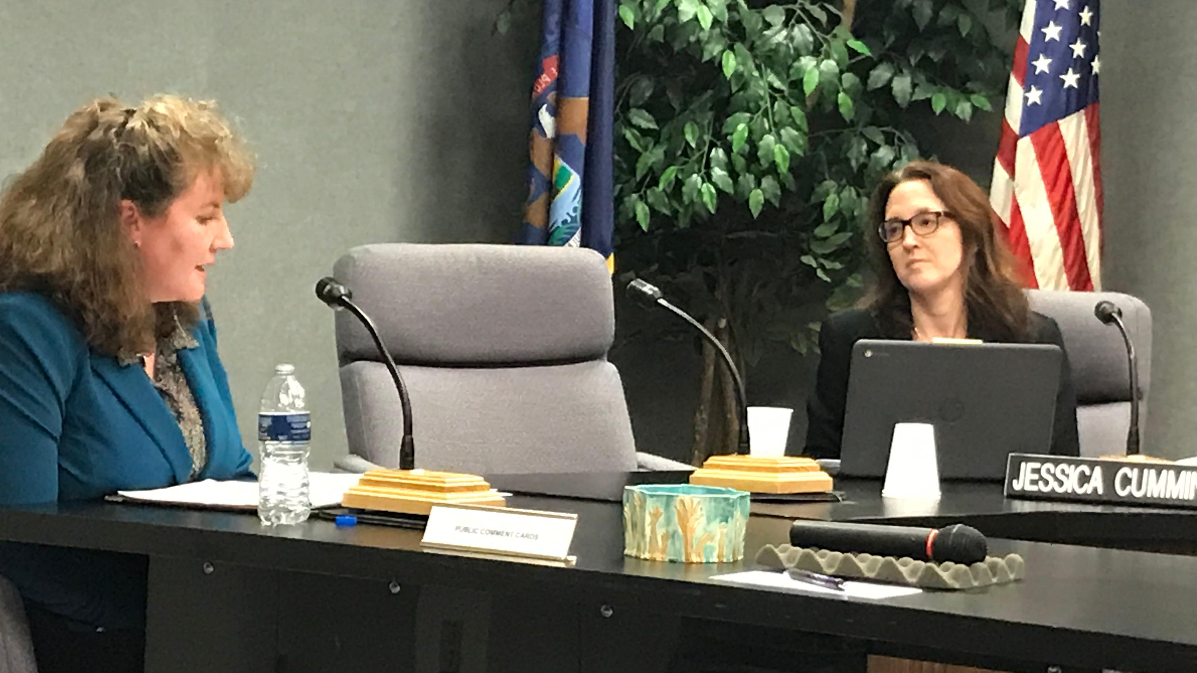 Jennifer Garland (left) responds to questions from Farmington Board of Education Trustee Jessica Cummings.