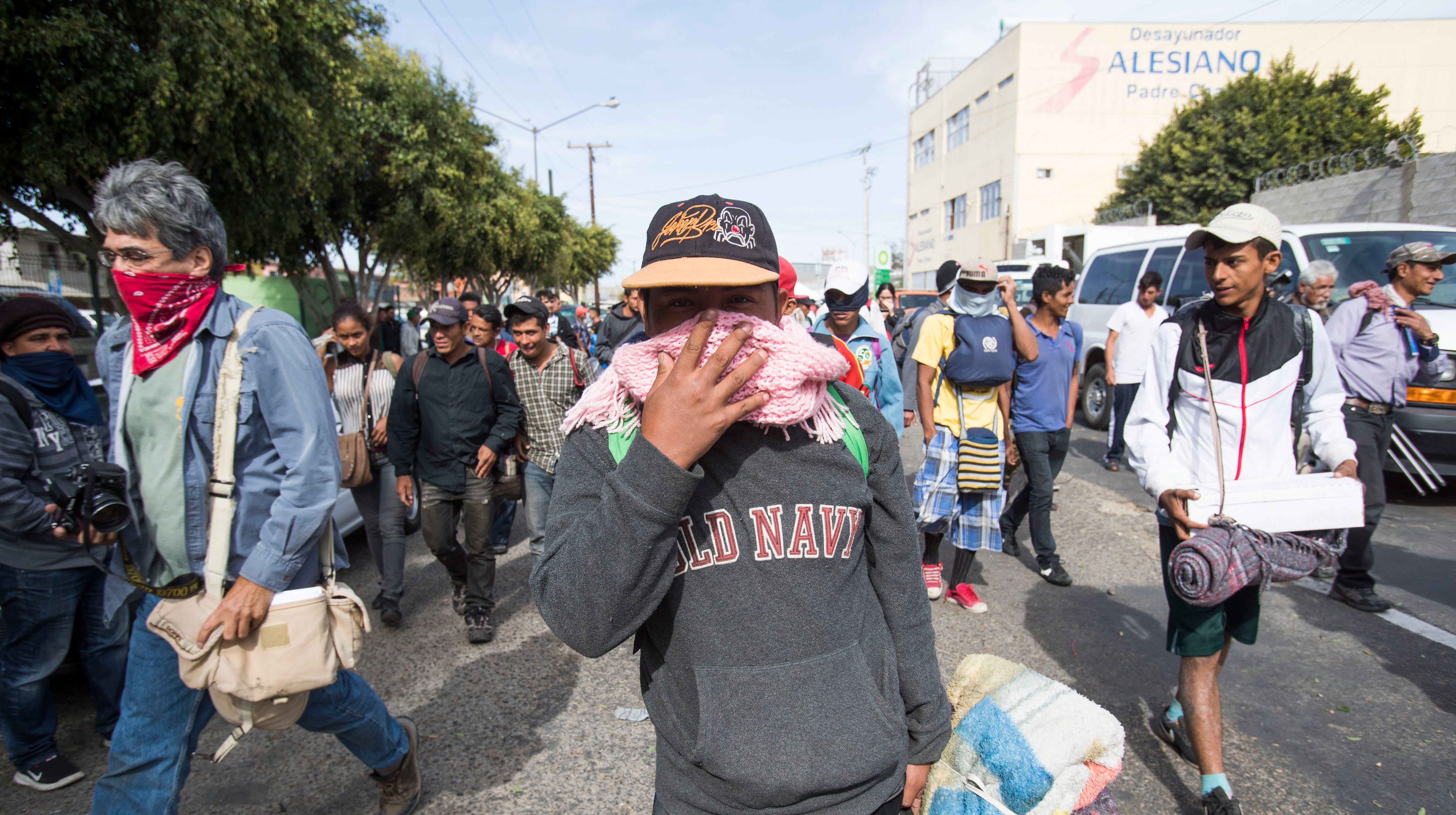 Members of the fist wave of the migrant caravan decided to head to Playas De Tijuana after arriving in Tijuana, Mexico on November 13, 2018. The group of 350 migrants traveled in 9 buses on the last part of the trip from Hermosillo, Sonora.