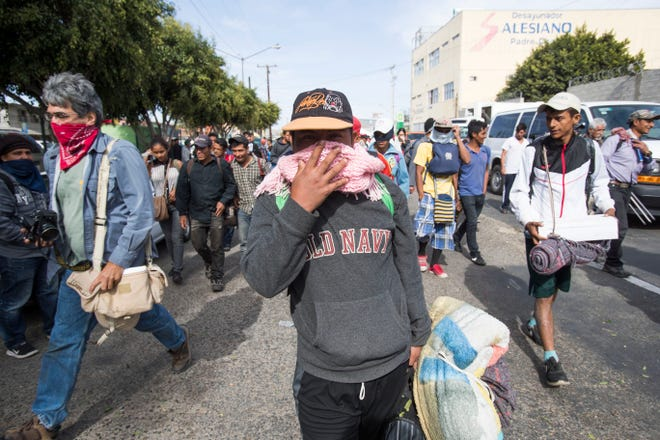 Members of the fist wave of the migrant caravan decided to head to Playas De Tijuana after arriving in Tijuana, Mexico, on Nov. 13. The group of 350 migrants traveled in nine buses on the last part of the trip from Hermosillo, Sonora.