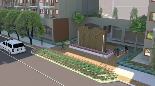 A conceptual image shows what the Two Hundred Garden West development could look like from a view on Garden Street. The lone brick wall in the center of the image is a preserved wall from a school wood workshop from the 1940's that would be preserved.