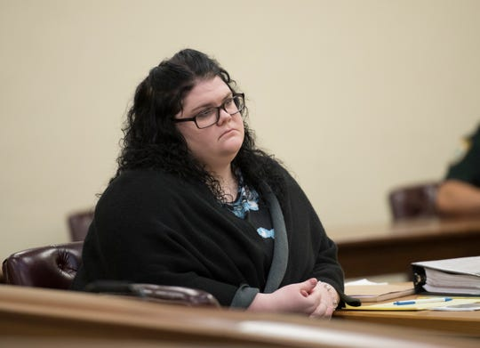 Melissa Pocopanni listens to opening statements in her trial at the Santa Rosa County Courthouse in Milton on Nov. 14. Pocopanni was convicted of one count of murder and two counts of attempted murder in a drive-by triple shooting almost two years ago.