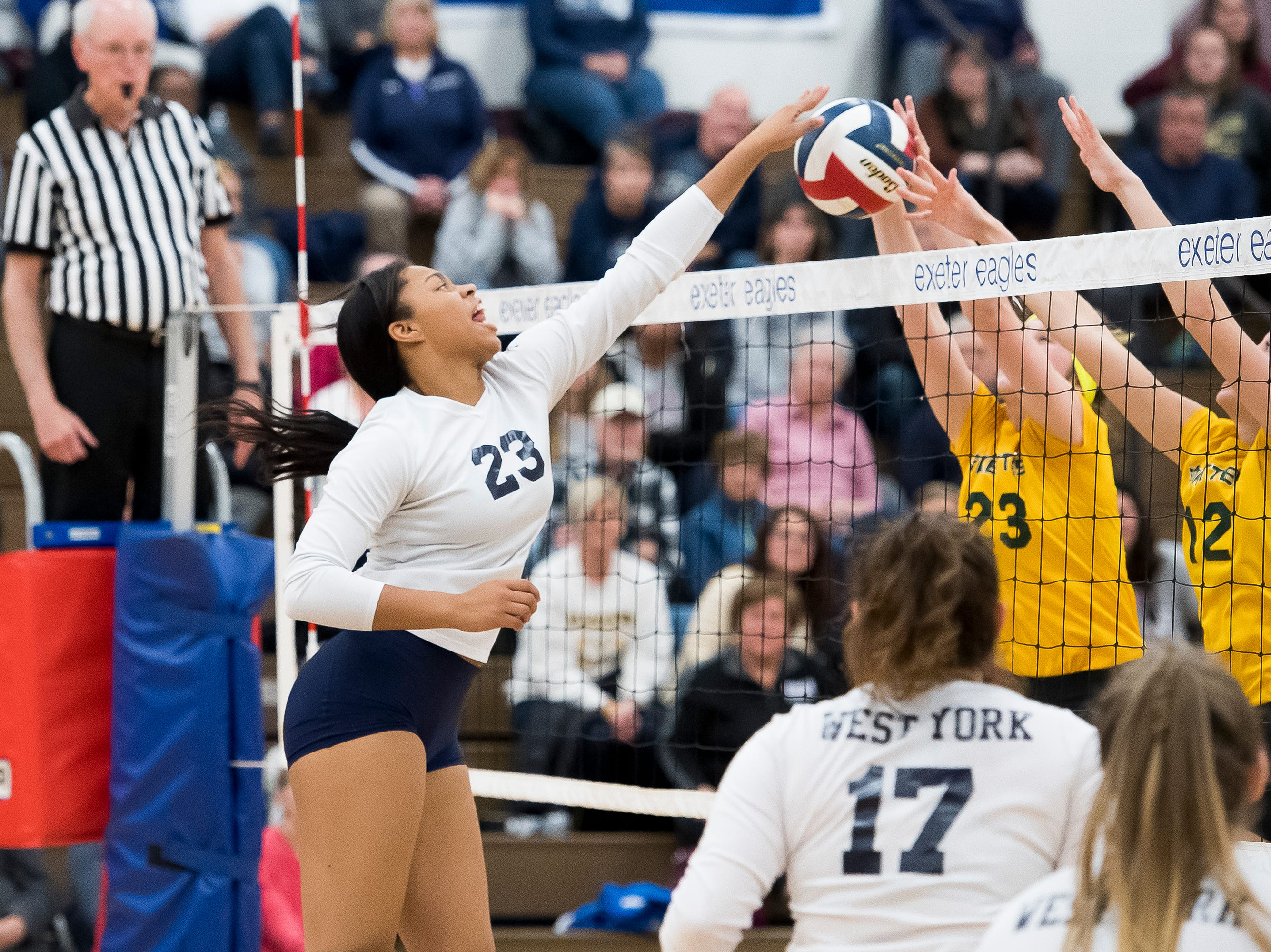 West York's Alayna Harris hits the ball over the net to Allentown Central Catholic in a PIAA 3A semifinal game at Exeter Township High School in Reading on Tuesday, November 13, 2018.