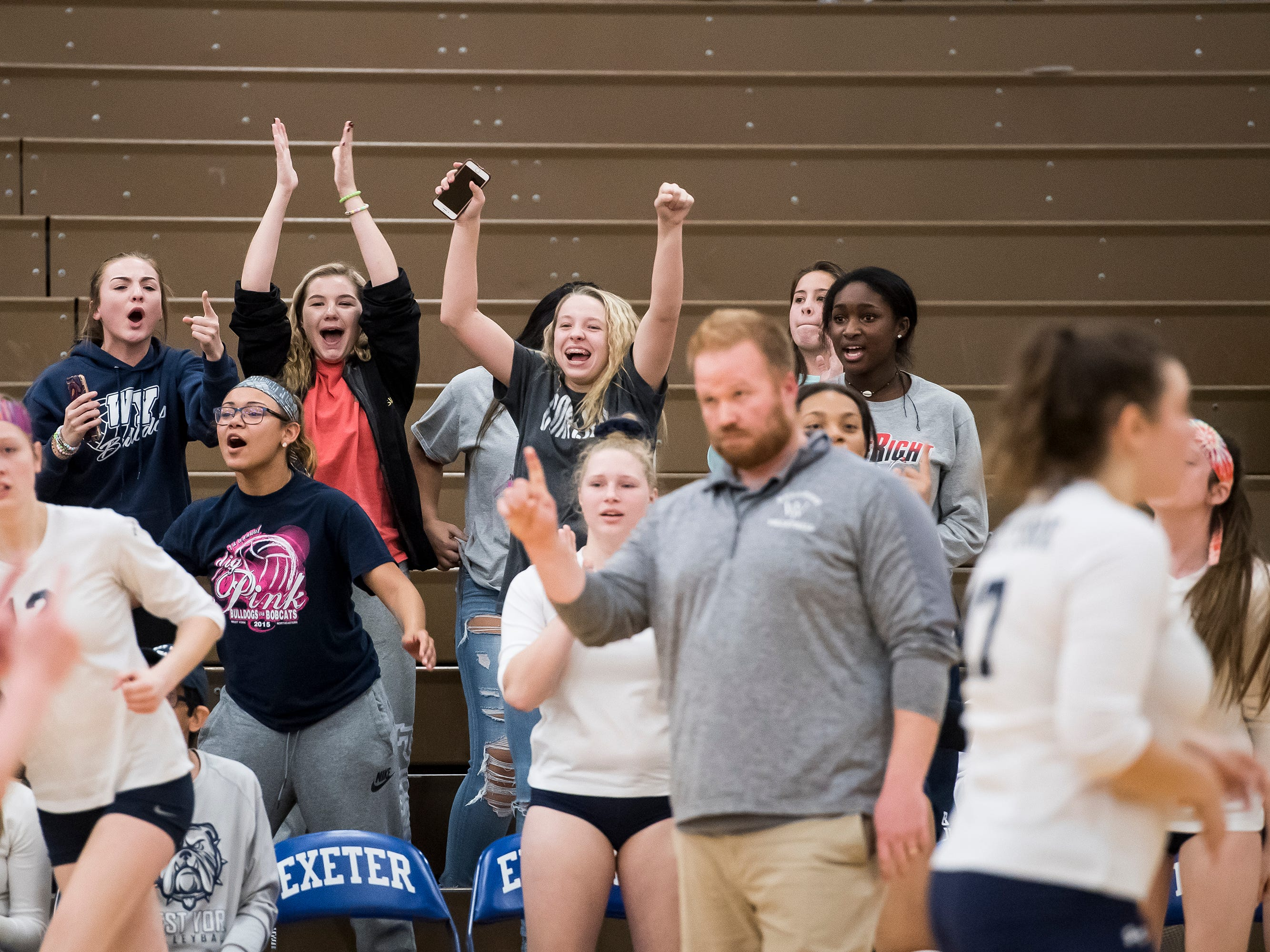 The West York bench erupts after the Bulldogs reach set point in the fifth set against Allentown Central Catholic in a PIAA 3A semifinal game at Exeter Township High School in Reading on Tuesday, November 13, 2018.