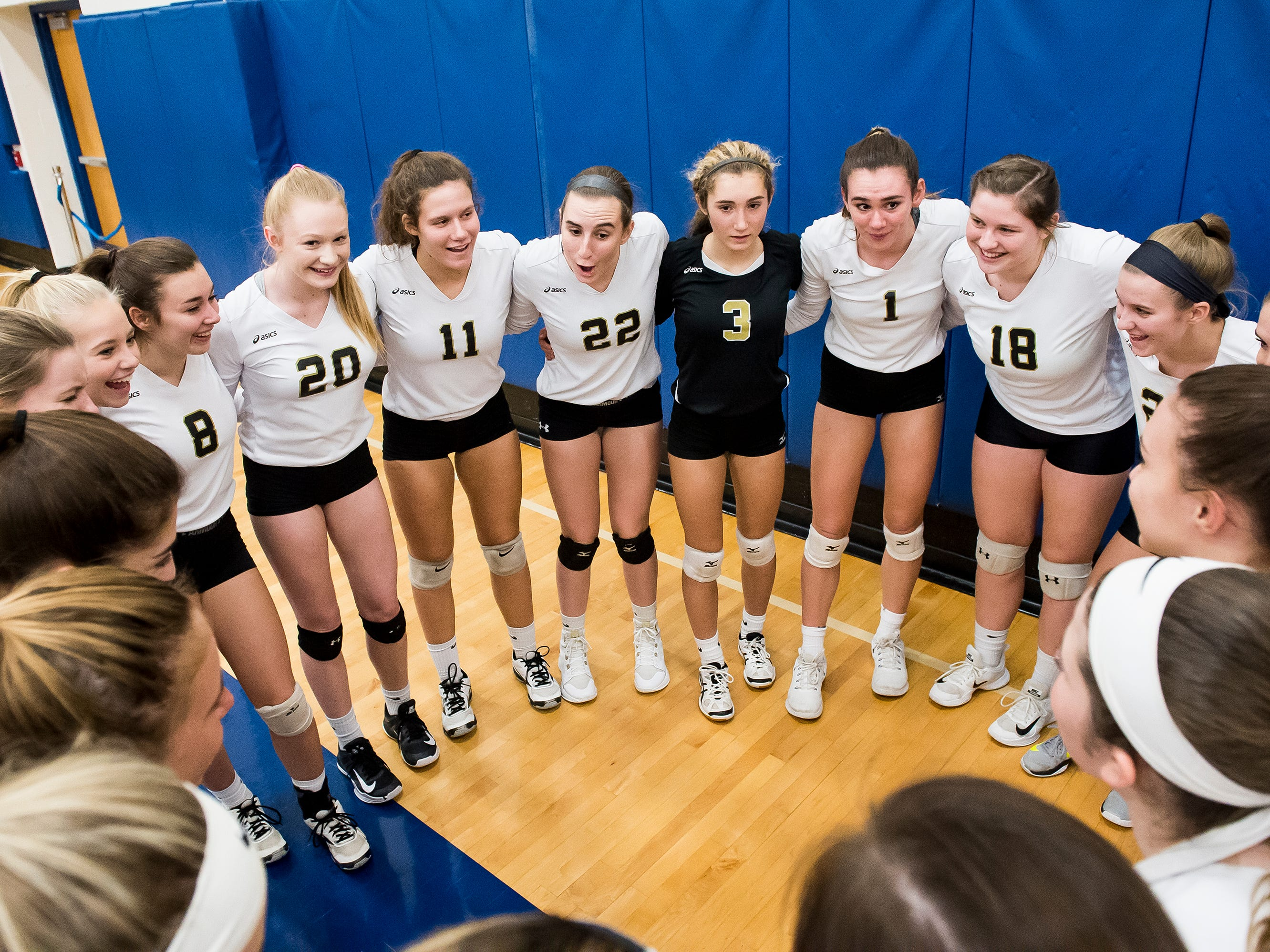 Delone Catholic players prepare before taking on Holy Redeemer in a PIAA 2A semifinal game at Exeter Township High School in Reading on Tuesday, November 13, 2018. The Squires fell in five sets; 23-25, 25-13, 25-13, 18-25, 15-10.