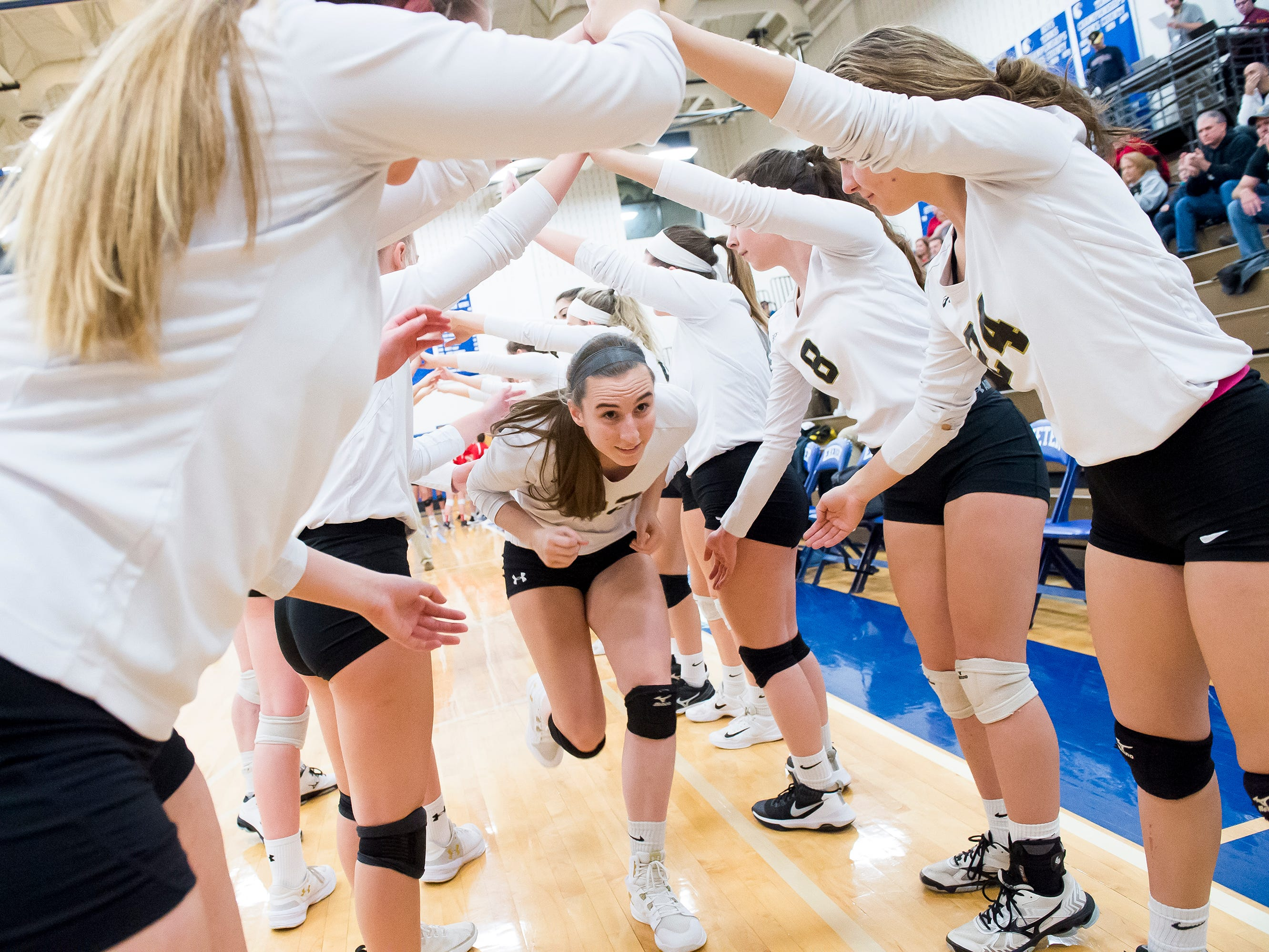 Delone Catholic's Emily Miller is introduced in the starting lineup during a PIAA 2A semifinal game against Holy Redeemer at Exeter Township High School in Reading on Tuesday, November 13, 2018. The Squires fell in five sets; 23-25, 25-13, 25-13, 18-25, 15-10.