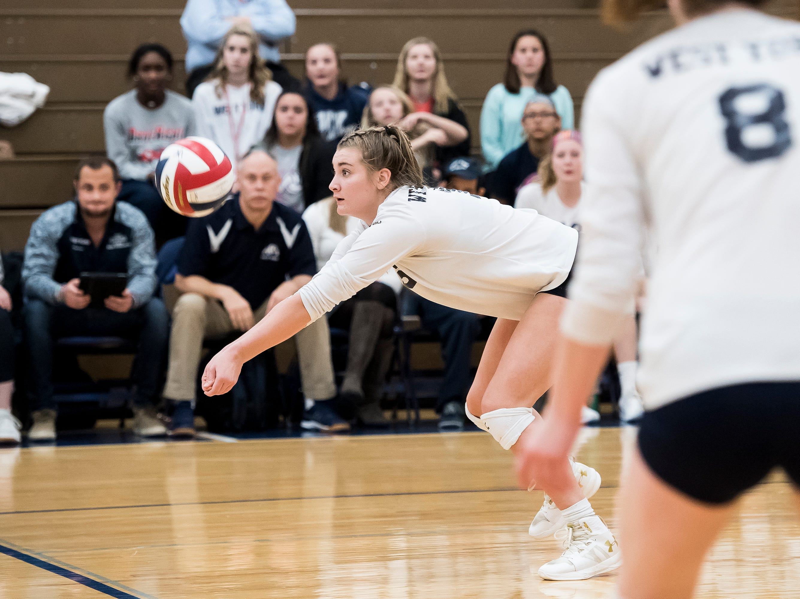 West York's Georgianna Kahley bumps the ball during play against Allentown Central Catholic in a PIAA 3A semifinal game at Exeter Township High School in Reading on Tuesday, November 13, 2018.