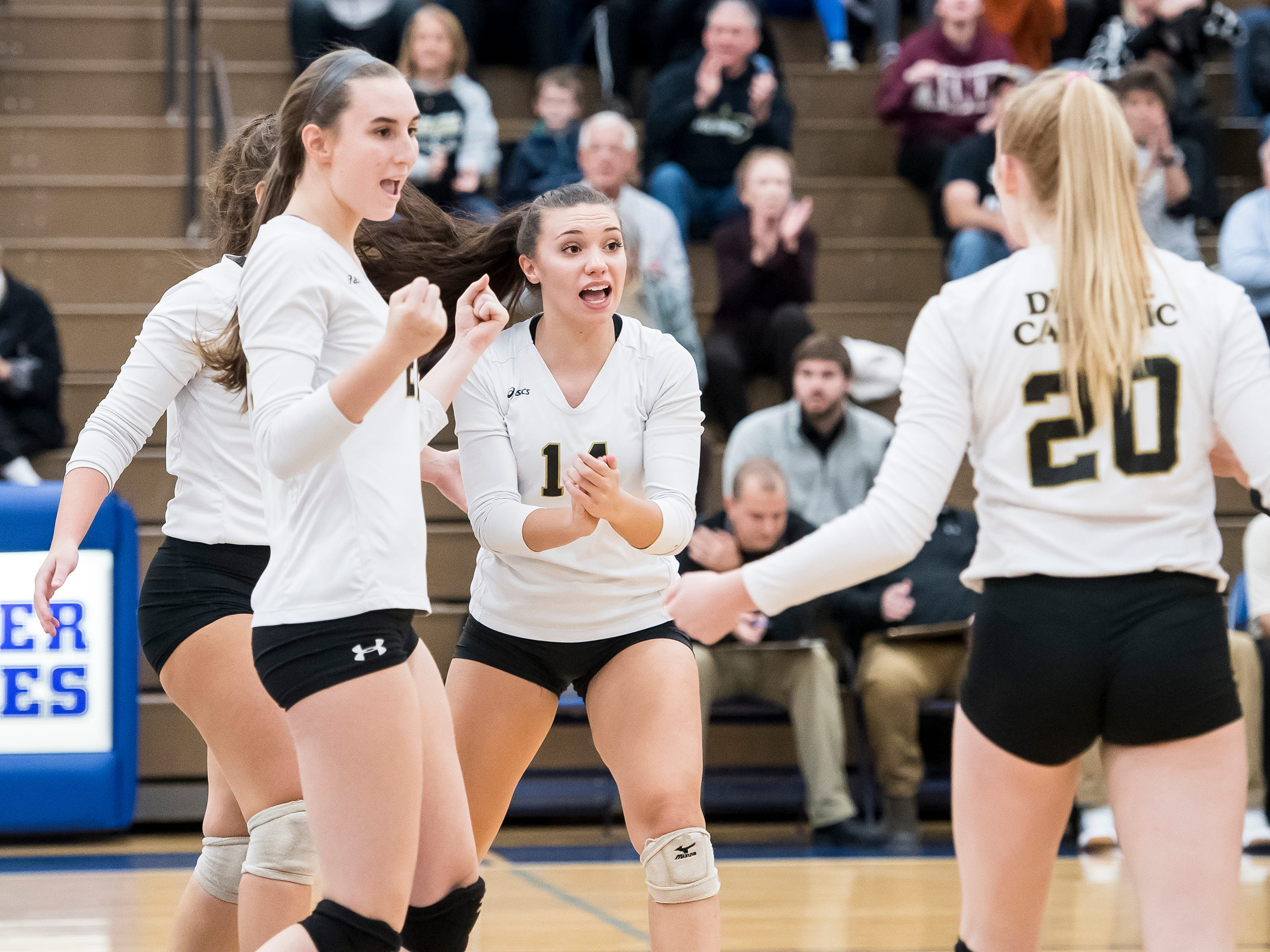 Delone Catholic players react after scoring a point against Holy Redeemer in a PIAA 2A semifinal game at Exeter Township High School in Reading on Tuesday, November 13, 2018. The Squires fell in five sets; 23-25, 25-13, 25-13, 18-25, 15-10.