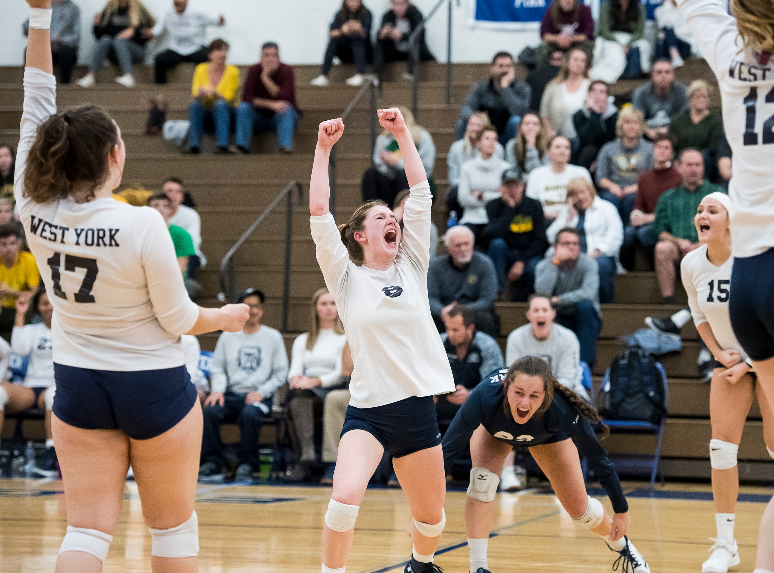West York celebrate after scoring a point late in the fourth set against Allentown Central Catholic in a PIAA 3A semifinal game at Exeter Township High School in Reading on Tuesday, November 13, 2018.