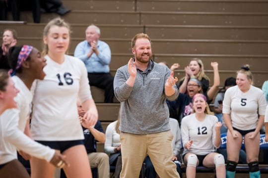 West York head coach Joe Ramp reacts after the Bulldogs score a point late in the fifth set against Allentown Central Catholic in a PIAA 3A semifinal game at Exeter Township High School in Reading on Tuesday, November 13, 2018.