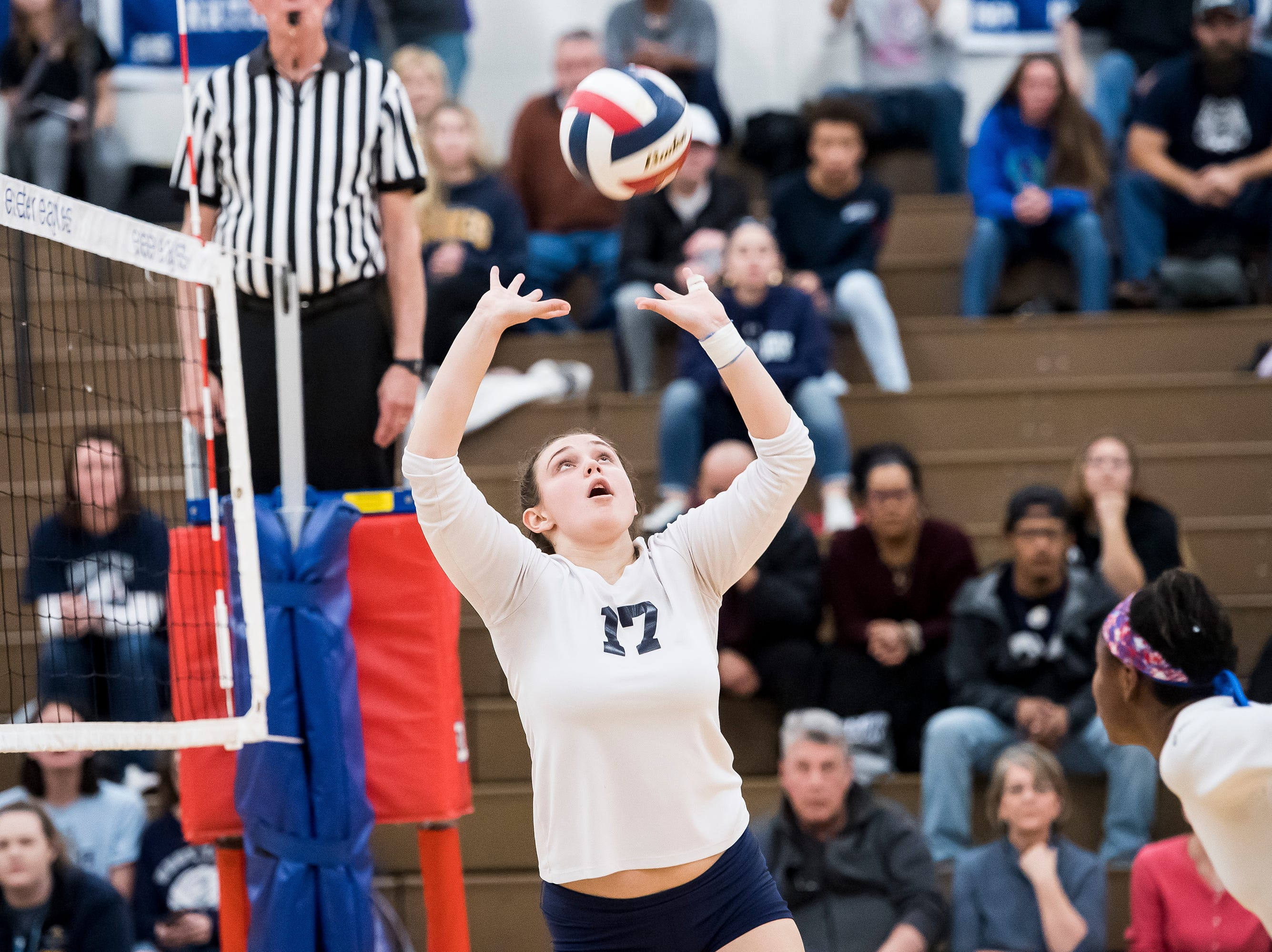 West York's Taylor Morley (17) sets the ball during play against Allentown Central Catholic in a PIAA 3A semifinal game at Exeter Township High School in Reading on Tuesday, November 13, 2018.