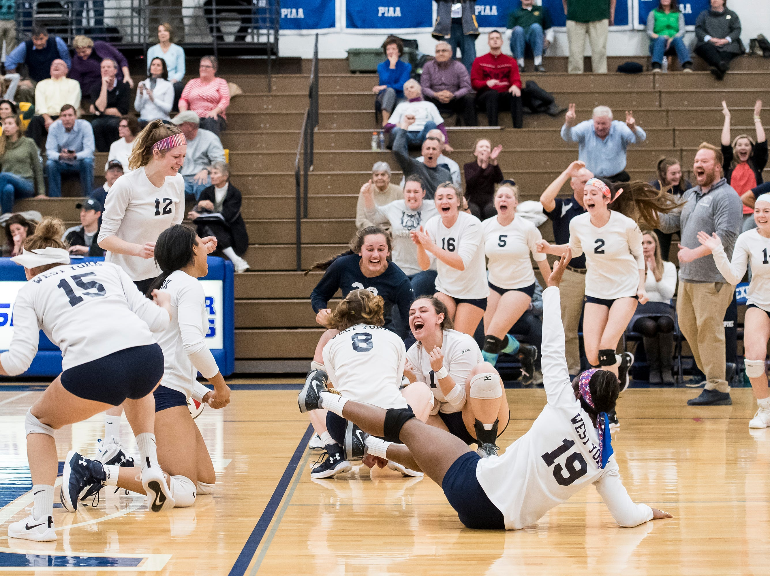 West York celebrates after defeating Allentown Central Catholic in a PIAA 3A semifinal game at Exeter Township High School in Reading on Tuesday, November 13, 2018.