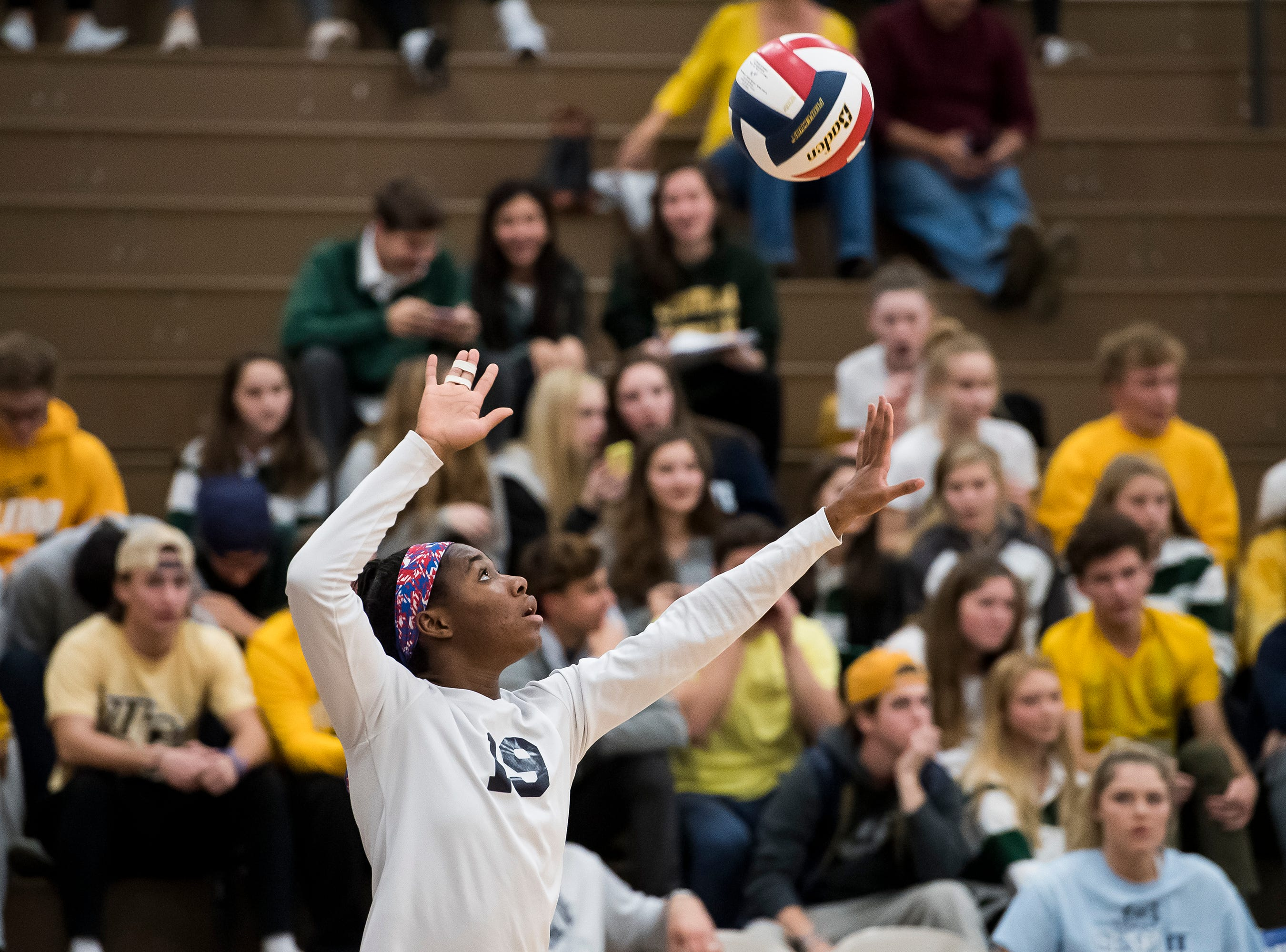 West York's Tesia Thomas serves to Allentown Central Catholic in a PIAA 3A semifinal game at Exeter Township High School in Reading on Tuesday, November 13, 2018.