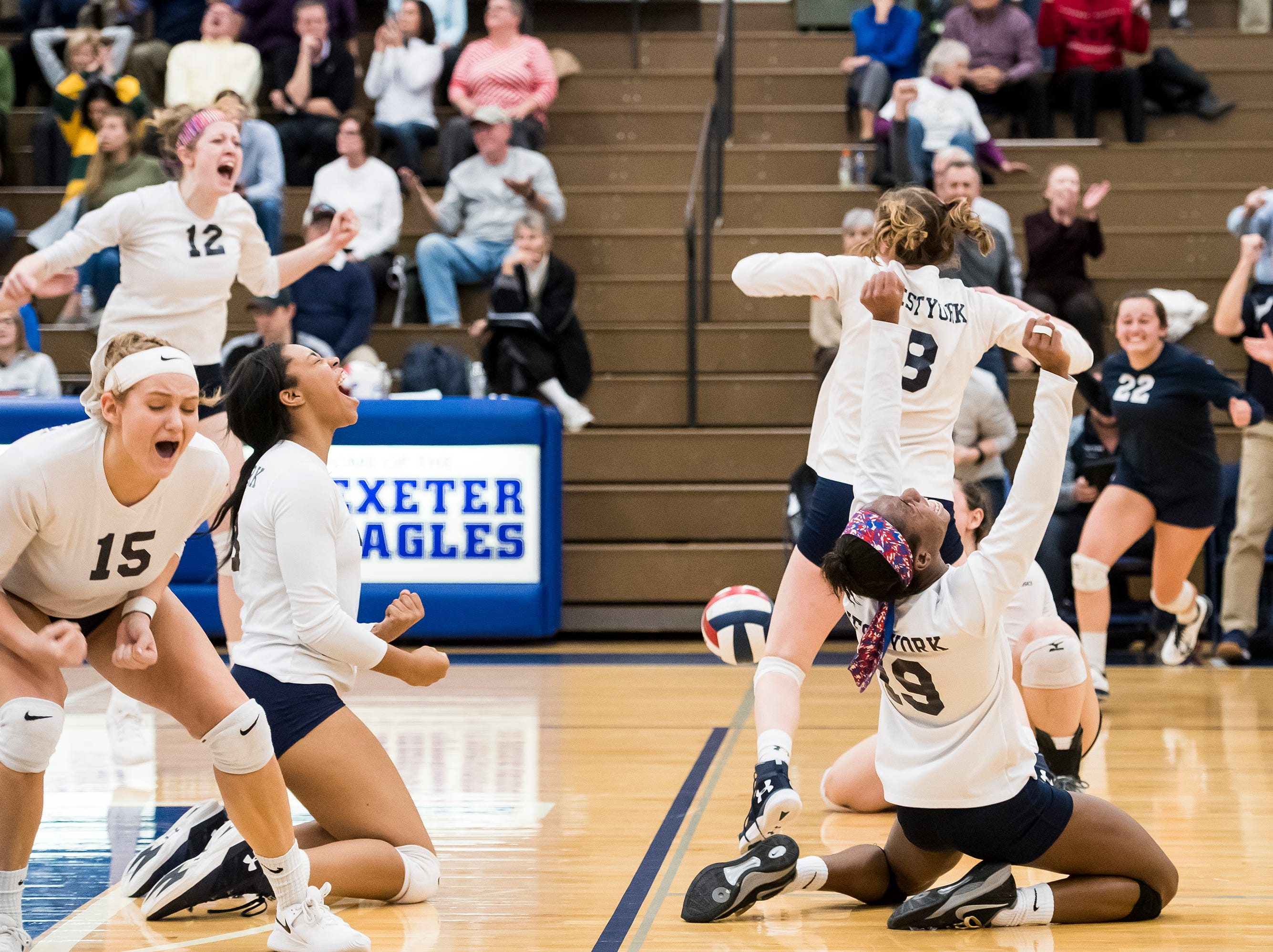 West York players celebrate defeating Allentown Central Catholic in a PIAA 3A semifinal game at Exeter Township High School in Reading on Tuesday, November 13, 2018.
