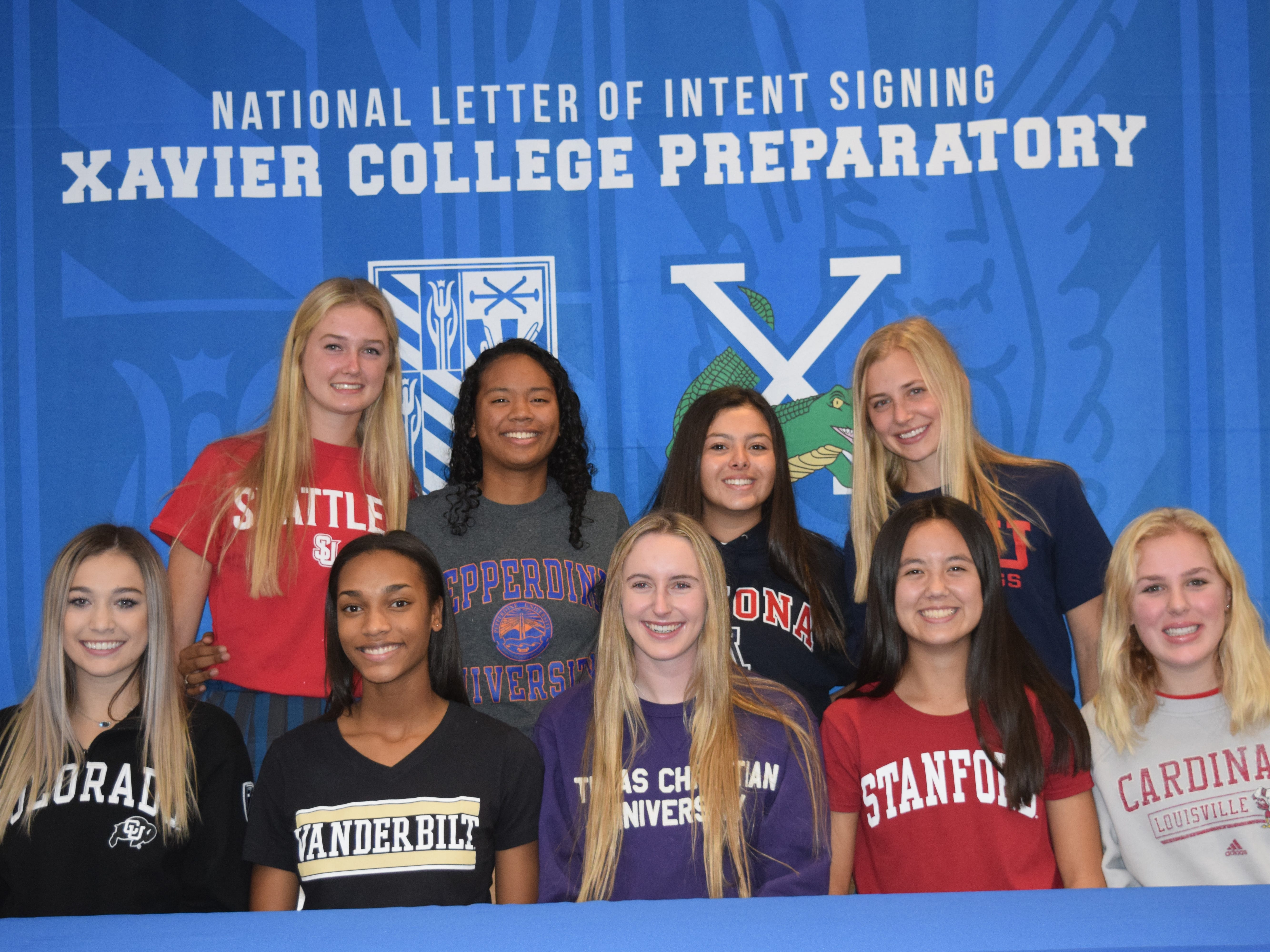 Nine Xavier athletes signed National Letters of Intent on Nov. 14, 2018.