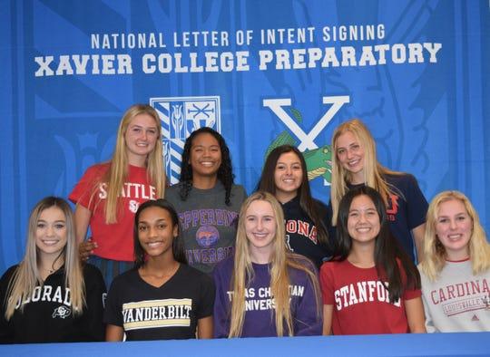 Nine Xavier athletes signed National Letters of Intent on Nov. 14, 2018.