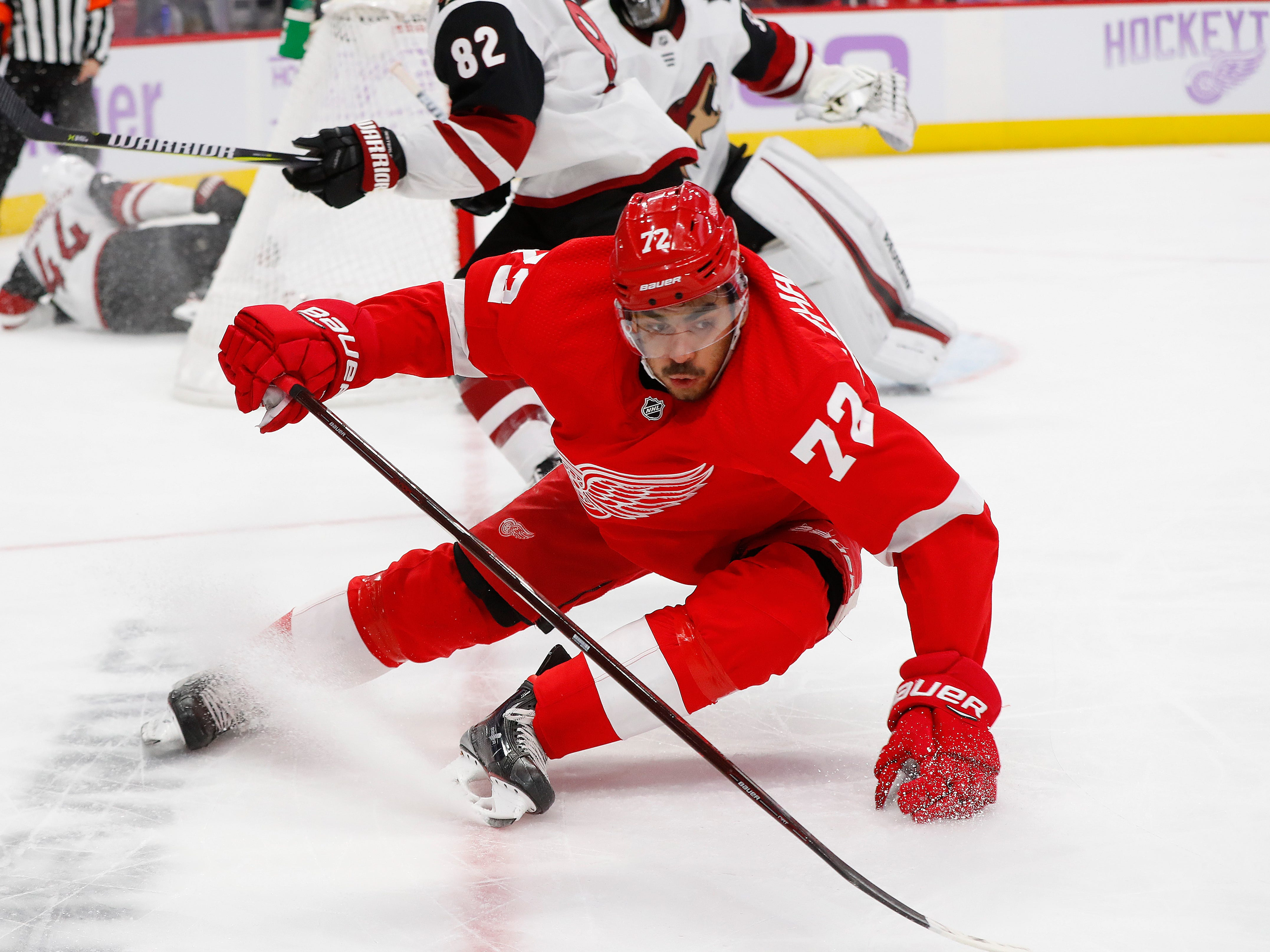 Detroit Red Wings center Andreas Athanasiou (72) skates against the Arizona Coyotes in the second period of an NHL hockey game Tuesday, Nov. 13, 2018, in Detroit.