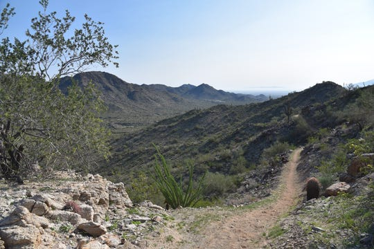 Trailhead in distance seen from Pyrite Trail.